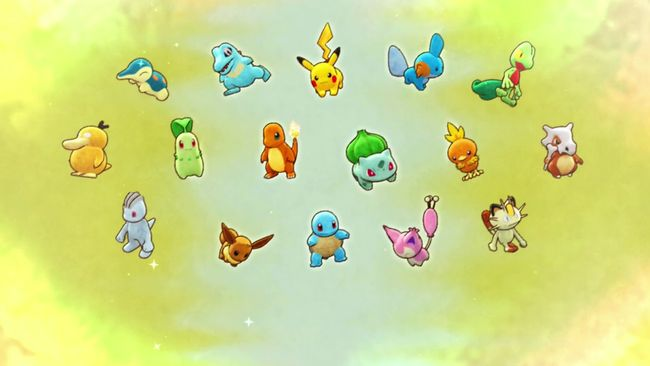Choosing your character  A selection of Pokémon appear before the character ranging from Bulbasaurs to Machops