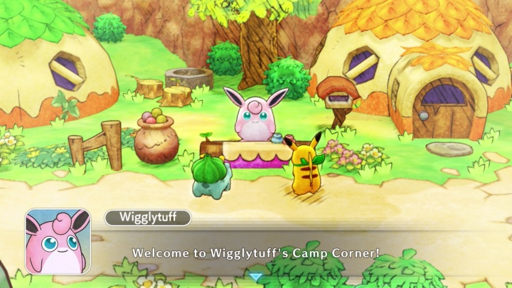 Camp Corner with Wigglytuff and our protagonists