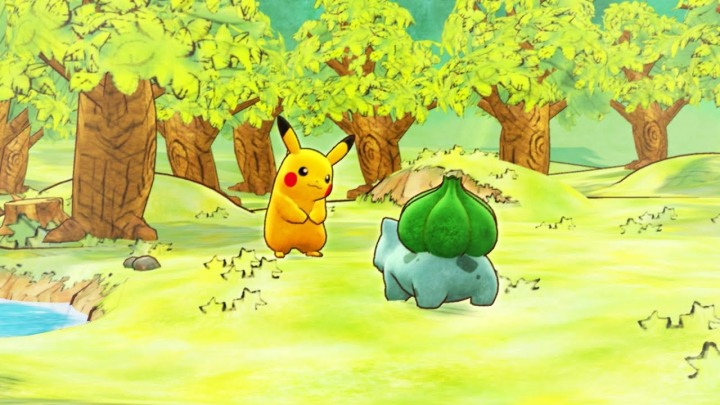 Watercolour Masterpiece. Pikachu and Bulbasaur by a forest lush with watercolours straight from a childs book.